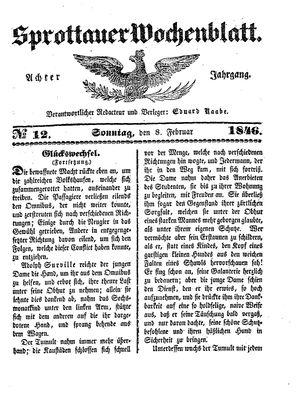 Sprottauer Wochenblatt vom 08.02.1846
