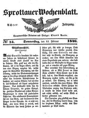 Sprottauer Wochenblatt vom 12.02.1846