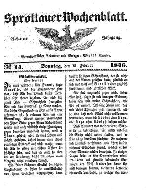 Sprottauer Wochenblatt vom 15.02.1846