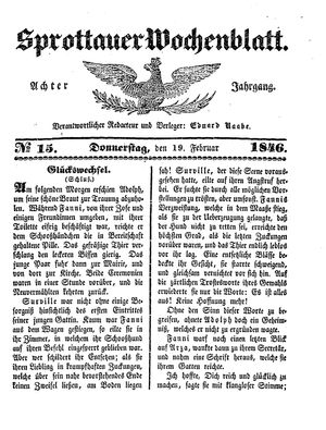 Sprottauer Wochenblatt vom 19.02.1846