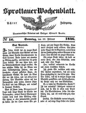 Sprottauer Wochenblatt vom 22.02.1846