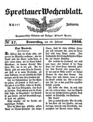 Sprottauer Wochenblatt vom 26.02.1846