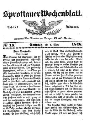 Sprottauer Wochenblatt vom 01.03.1846