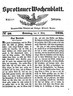 Sprottauer Wochenblatt vom 08.03.1846