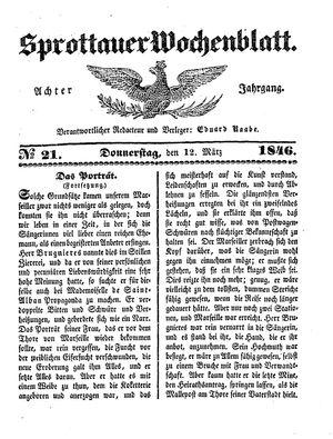 Sprottauer Wochenblatt vom 12.03.1846