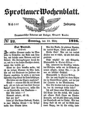 Sprottauer Wochenblatt vom 15.03.1846