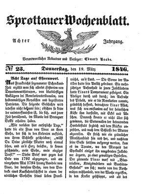 Sprottauer Wochenblatt vom 19.03.1846