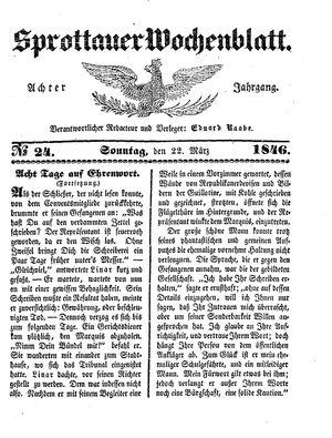Sprottauer Wochenblatt vom 22.03.1846