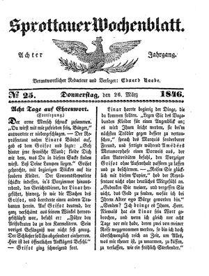 Sprottauer Wochenblatt vom 26.03.1846