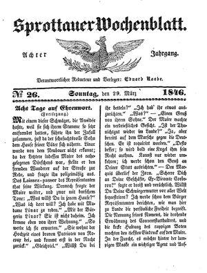 Sprottauer Wochenblatt vom 29.03.1846