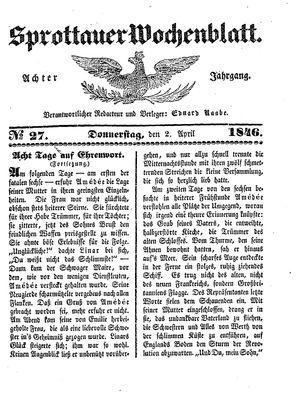 Sprottauer Wochenblatt vom 02.04.1846
