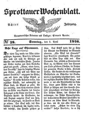Sprottauer Wochenblatt on Apr 5, 1846