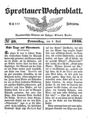 Sprottauer Wochenblatt vom 09.04.1846