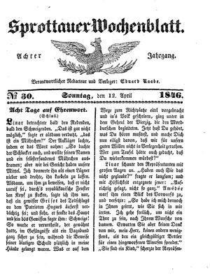 Sprottauer Wochenblatt vom 12.04.1846