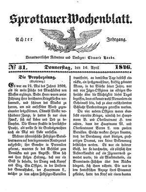 Sprottauer Wochenblatt vom 16.04.1846