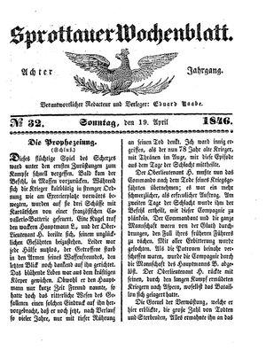 Sprottauer Wochenblatt vom 19.04.1846
