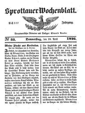 Sprottauer Wochenblatt vom 23.04.1846