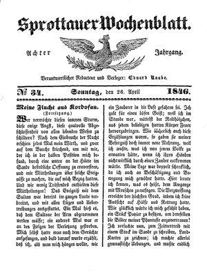 Sprottauer Wochenblatt vom 26.04.1846