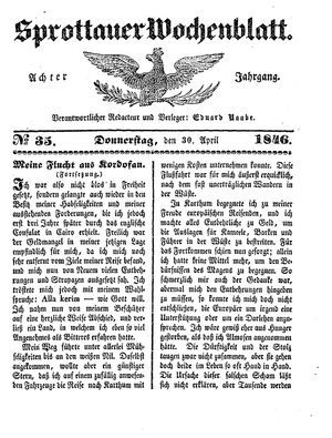 Sprottauer Wochenblatt vom 30.04.1846