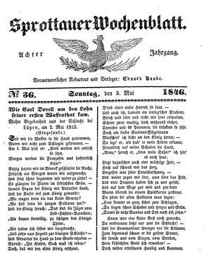 Sprottauer Wochenblatt vom 03.05.1846