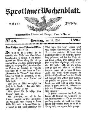 Sprottauer Wochenblatt vom 10.05.1846