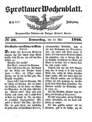 Sprottauer Wochenblatt vom 14.05.1846