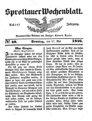 Sprottauer Wochenblatt vom 17.05.1846