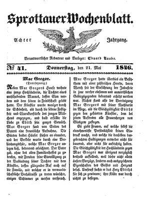 Sprottauer Wochenblatt vom 21.05.1846