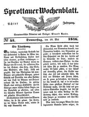 Sprottauer Wochenblatt vom 28.05.1846