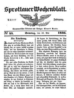 Sprottauer Wochenblatt vom 31.05.1846