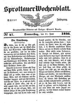 Sprottauer Wochenblatt vom 11.06.1846