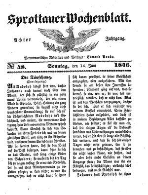 Sprottauer Wochenblatt vom 14.06.1846