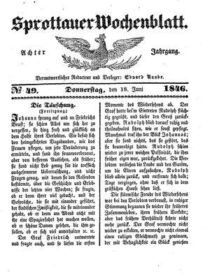 Sprottauer Wochenblatt vom 18.06.1846