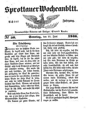 Sprottauer Wochenblatt vom 21.06.1846