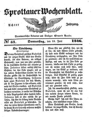 Sprottauer Wochenblatt vom 25.06.1846