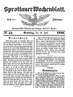 Sprottauer Wochenblatt vom 28.06.1846