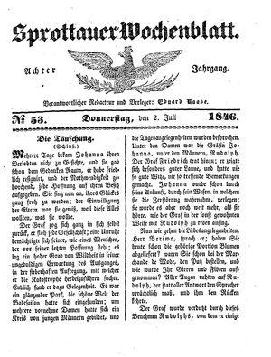 Sprottauer Wochenblatt vom 02.07.1846