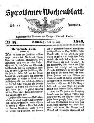Sprottauer Wochenblatt vom 05.07.1846