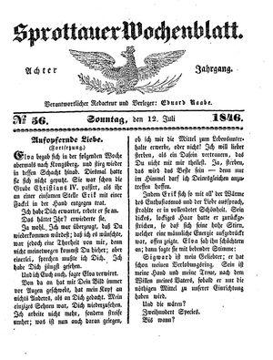 Sprottauer Wochenblatt vom 12.07.1846