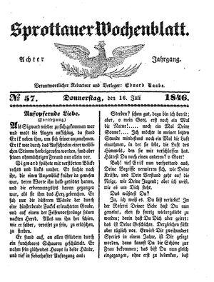 Sprottauer Wochenblatt vom 16.07.1846