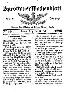 Sprottauer Wochenblatt vom 23.07.1846