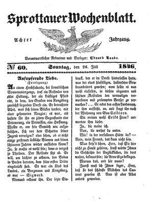 Sprottauer Wochenblatt vom 26.07.1846