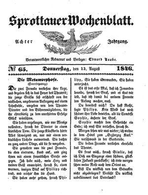 Sprottauer Wochenblatt vom 13.08.1846