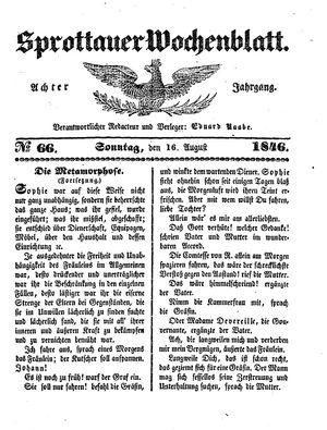Sprottauer Wochenblatt vom 16.08.1846