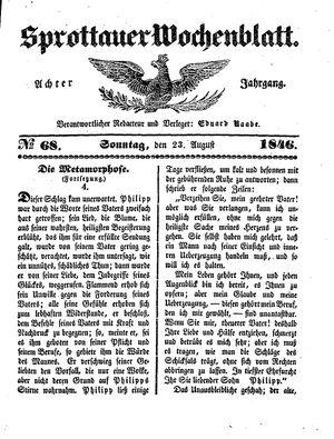 Sprottauer Wochenblatt vom 23.08.1846
