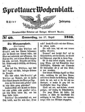 Sprottauer Wochenblatt vom 27.08.1846