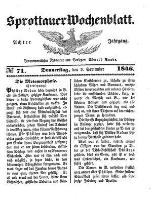 Sprottauer Wochenblatt vom 03.09.1846