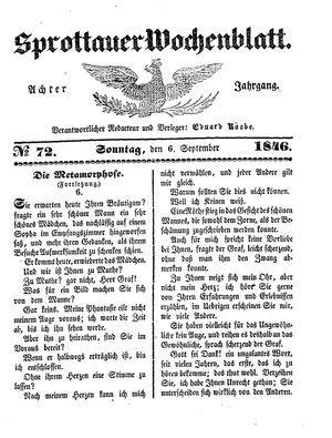 Sprottauer Wochenblatt on Sep 6, 1846