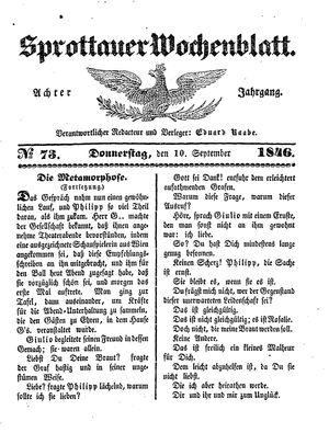 Sprottauer Wochenblatt vom 10.09.1846