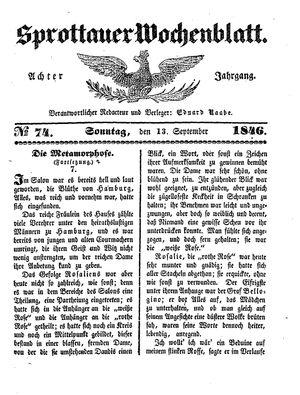 Sprottauer Wochenblatt vom 13.09.1846